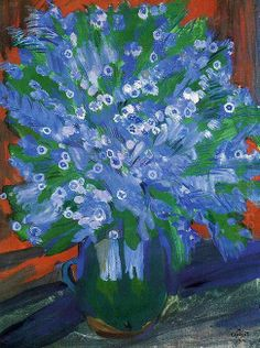 'Blue Flowers' by Martiros Saryan 5 Mai, Still Life Oil Painting, Still Life Art, Oil Painting Reproductions, Armenia, Blue Flowers, Flower Art, Photo Art, Design Art