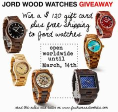 Win a $120 gift card plus free shipping with Jord Wood Watches Giveaway on Fashion and Cookies fashion blog