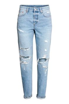 d68aa5a3b372 Boyfriend Low Ripped Jeans - Licht denimblauw trashed - DAMES   H M NL