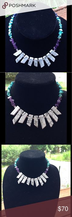 """‼️SALE‼️ White and Blue Natural Gemstone Necklace This unique and colorful collar length necklace is made with amethyst, turquoise, and lapis lazuli chips. The lovely white stones in the center of this piece are natural howlite. This necklace measures 15"""" long and attaches with a silver tone toggle clasp. All PeaceFrog jewelry items are made by me! Take a look through my boutique for coordinating jewelry and more unique creations. PeaceFrog Jewelry Necklaces"""