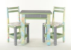 chalk board childs table, chairs from thrift store and table is an end table,#kids furniture # DIY