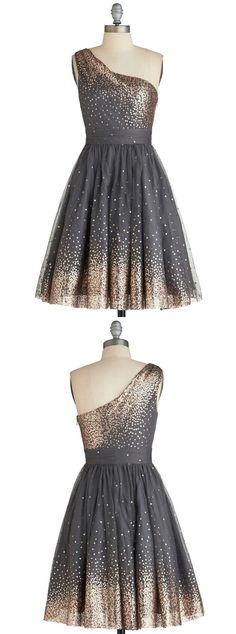 short homecoming dresses, one shoulder homecoming dresses, 2016 sparkly homecoming dresses, grey homecoming dress with gold sequins, party dress More