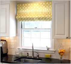 Decorating Kitchen. Appealing Roman Blinds Kitchen Inspiring Decorations. Stunning Roman Blinds Kitchen Feature Yellow Roman Blinds Windows Curtain And White Stained Wall Mounted Wooden Kitchen Storage And White Stained Wooden Kitchen Cabinet With Black Ceramic On Top Along With White Ceramic Tiles Backsplash. Roman Blinds Kitchen. Appealing Roman Blinds Kitchen Inspiring Decorations