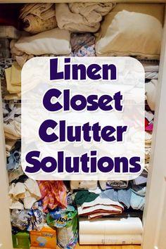 DIY Linen Closet Decluttering and Organization Ideas - Decluttering Your Life Linen Closet Organization, Closet Storage, Clutter Solutions, Creative Storage, Storage Hacks, Organizing Your Home, Keep It Cleaner, Decluttering, Diy