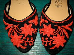 GORGEOUS vintage hand  BEADED flats 8 by faintofheartvintage, $75.00