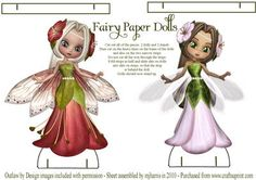 Fairy Paper Dolls Stands on Craftsuprint designed by Mary Jane Harris - 2 Fairy Paper Dolls