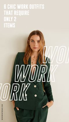 6 Chic Work Outfits That Require Only 2 Items Simple Work Outfits, Fall Outfits For Work, Work Fashion, Fashion Advice, Easy Work, Luxe Life, Work Wardrobe, Who What Wear, Graphic Design