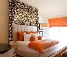 Black Flower Printed Curtains behind The Bed for Bedroom