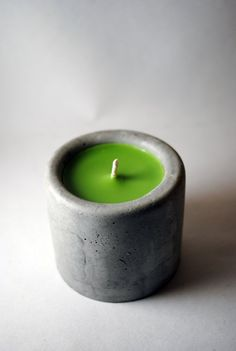 Green tea lime candle with concrete votive by TheMadCowDesign, $15.00