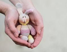 Easter rabbit, Crochet toy Rabbit. Cotton toy. Rainbow rabbit soft toy. Rose, yellow, grey. on Etsy, Sold