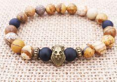 Men's Bracelet, Men Bracelet, Man Gemstones Bracelet, Beaded Stretch Bracelet,Antic Bronze Lion Bracelet Gift For Him For Men Holiday Gifts