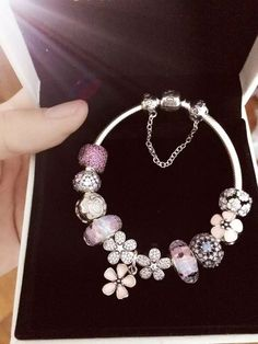 Tendance Bracelets  50% OFF!!! $299 Pandora Charm Bracelet Pink White Blue. Hot Sale!!! SKU: CB01651