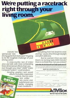 Enduro flyer. Atari 2600. I loved this game. The crude graphics didn't matter, your imagination enhanced the audiovisual experience. The sky color gradient was a prelude to the Commodore Amiga's Copper chip, designed by the same man: Jay Miner. #gaming #atari #ads
