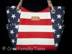 Red White and Blue - Patriotic - Bag - Purse - Handmade - Handbag - Stripes - Shoulder Bag - leather handles on Etsy, $58.00