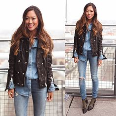 #stealthelook #look #looks #streetstyle #streetchic #moda #fashion #style #estilo #inspiration #AimeeSong #bota #calca #jeans #camisa #jaqueta #couro