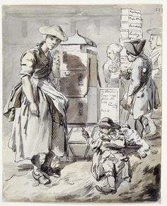 Broadsheet seller: 1759  Paul Sandby  © Museum of London