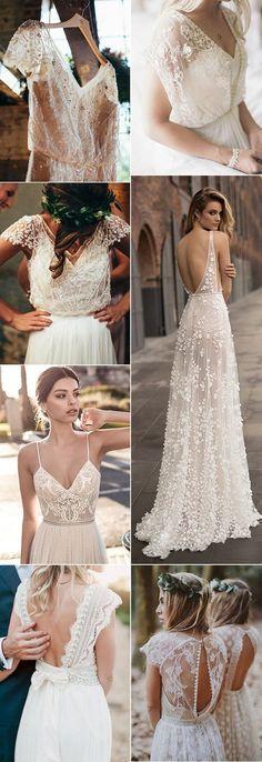 Top 18 Boho Wedding Dresses for 2018 Trends - Brautkleider Boho - Hochzeitskleid Wedding Dresses 2018, Bohemian Wedding Dresses, Boho Dress, Bridal Dresses, Lace Wedding, Dream Wedding, Dresses Dresses, Mod Wedding, Wedding Ceremony