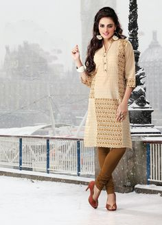 Beige color pure cotton Fabric Kurti. This Kurti features pleats spread all over with fancy buttons decked placket completes the look.   Rate:- 695/- For orders contact +919870725209 or Whtsapp