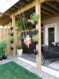 Modern design ideas for a small backyard // beautiful small backyard // DIY rock landscaping around a gray Trex platform deck // Hanging herbs // DIY outdoor cat perches // DIY HVAC unit screen // sma Small Backyard Decks, Small Backyard Design, Backyard Patio Designs, Garden Design, Backyard Pools, Small Backyards, Modern Backyard, Backyard Ideas For Kids, Small Deck Designs