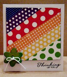 handmade card ... washi tapes in bright colors (Plues some paper, I believe) affixed at a diagonal for the main focal point ... sweet, simple and FUN card!!