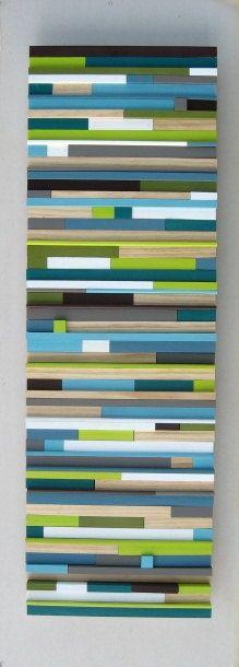 12x36 Painted Wood Modern Wall Art Sculpture $325.00