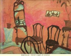 Marc Chagall. Small Drawing Room. 1908. Oil on paper mounted on cardboard. 22.5 x 29.