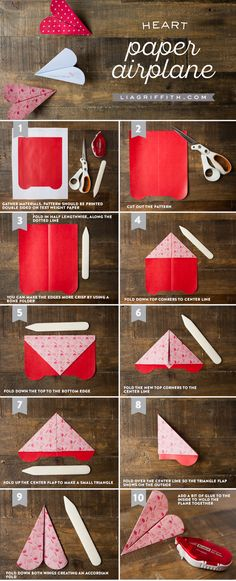 Looking for kids valentine ideas? Our mini heart paper airplane is the perfect solution. Pattern and tutorial by handcrafted lifestyle expert Lia Griffith.