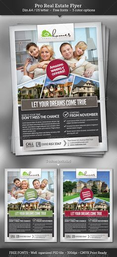 Pro Real Estate Flyer Template Use, by you or one client, in a single end product which end users are not charged for. The total price includes the item price and a buyer fee. Real Estate Flyer Template, Business Flyer Templates, Real Estate Flyers, Real Estate Marketing, Brochure Layout, Brochure Design, Print Templates, Psd Templates, Cv Web
