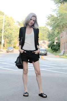 #fashion #style #blog #blogger #aritzia #summer #montreal #travel #outfit #vince #uniqlo #black #white #cool #greyhair #minimal #denim #cutoffs #shorts #ootd #fashionblogger #bloggerstyle #styleblogger