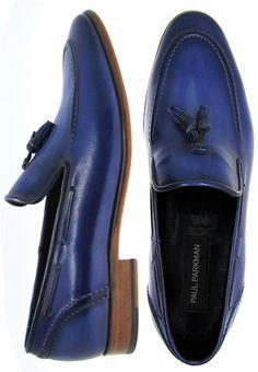 PAUL PARKMAN ® Men's Tassel Loafer Navy Calfskin Leather Upper & Natural Leather Sole
