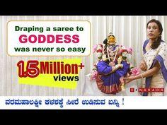 Simple Saree draping for Varamahalakshmi by Mamatha Drape Sarees, Saree Draping Styles, Lakshmi Sarees, Navratri Puja, Maa Durga Image, Ganesh Idol, Silver Lamp, Pooja Room Design, Simple Sarees