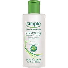Simple Cleansing Micellar Water. Cleanses, removes makeup, and hydrates. Kind to skin. $7.99.