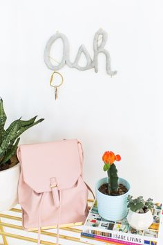 DIY hanging cement monogram - sugar and cloth - decor - keyring holder