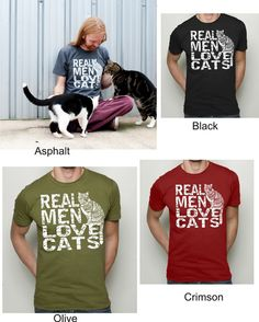 Cat Tshirt  Real Men Love Cats tshirt  Mens American by RCTees, $24.00