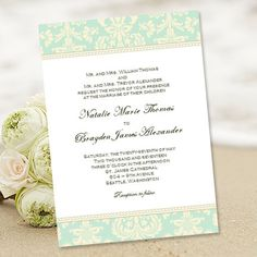 """Printable Wedding Invitation Template """"Damask"""" Mint Green & Champagne 