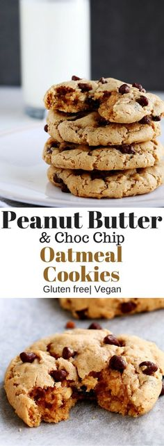 Delicious and healthy Peanut Butter & Choc Chip Oatmeal Cookies that are gluten free, packed with protein and come with a vegan option. (Peanutbutter No Baking Cookies) Brownie Desserts, Oreo Dessert, Mini Desserts, Gluten Free Peanut Butter, Healthy Peanut Butter, Gluten Free Cookies, Gluten Free Desserts, Vegan Desserts, Gluten Free Oatmeal