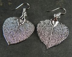 Silver Plated Real Aspen Leaf Dangle Earrings by MaryMorrisJewelry, $28.00
