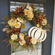 Etsy :: Your place to buy and sell all things handmade Elegant Fall Wreaths, Holiday Wreaths, Holiday Decor, Grapevine Wreath, Wreath Fall, Door Wreaths, Sunflower Wreaths, Floral Wreaths, Metal Pumpkins