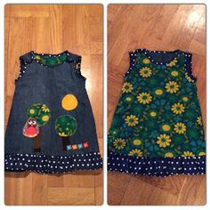 Av ett par trasiga jeans, en gardin och lite spilltyger blev det en vändbar liten hippie-kläning. Kolla in hur jag gjorde och gör din ege...