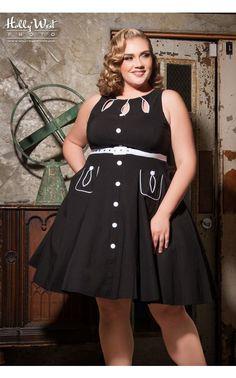 Teardrop Sleeveless Dress in Black - Plus Size