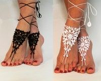 Wish | Crochet Barefoot Sandals, Anklet Barefoot Sandles, Foot jewelry, Steampunk, Victorian Lace, Black