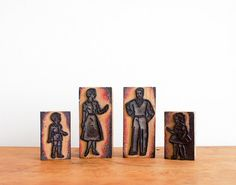 vintage french rubber stamps: a modern mid century family, set of four