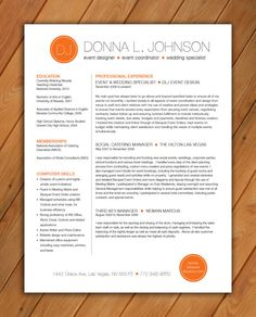 Custom Resume Template Color Circle Initials