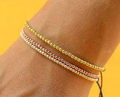Gold Rose beads friendship bracelet от Zzaval на Etsy