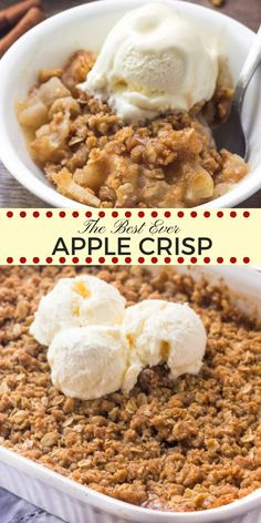 This easy apple crisp recipe is hands-down the best I've ever tried. It tastes warm and cozy thanks to the baked cinnamon apples and brown sugar oatmeal crumble topping. Made with fresh apples and simple pantry ingredients - it's the perfect fall treat. #apples #applecrisp #fall #applecrumble