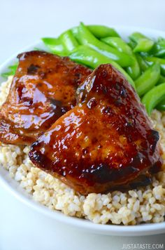 Honey Balsamic Baked Chicken Thighs #recipe from @Just a Taste | Kelly Senyei