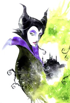 Maleficent - Sleeping beauty by =Maevachan <3 this artist. Want to try this combo of masking and loose watercolours.