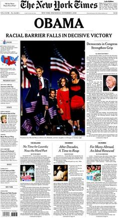 Barack Obama first African American President Newspaper Frame, Newspaper Front Pages, Old Newspaper, Times Newspaper, Black Presidents, American Presidents, Barack Obama, Joe Biden, Newspaper Headlines