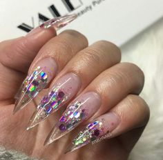 Image result for clear stiletto nail glitter fade