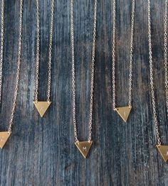 Custom Stamped Initial Triangle Necklace by K. Michael on Scoutmob Shoppe
